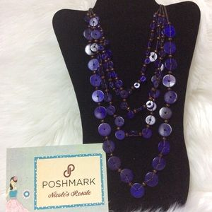 Paparazzi Necklace Purple Wooden multi strand